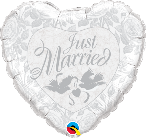 14253: - :Just Married Pearl White & Silver